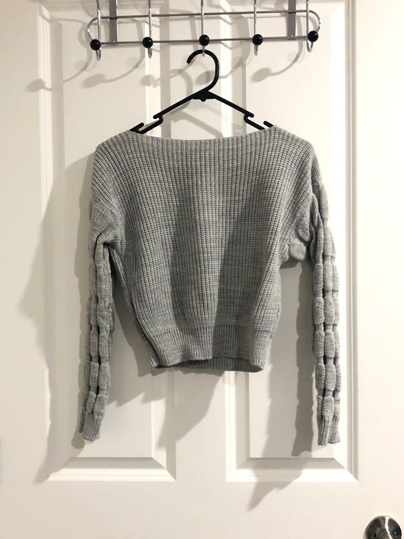 Size s - Boatneck cropped knit jumper- Boohoo
