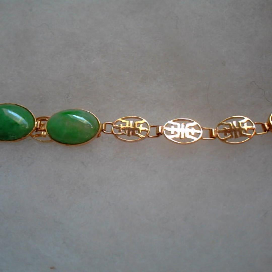 "Vintage Estate 14k Yellow Gold Apple CAB Jade Jadeite Bracelet CHINESE 7.25"""
