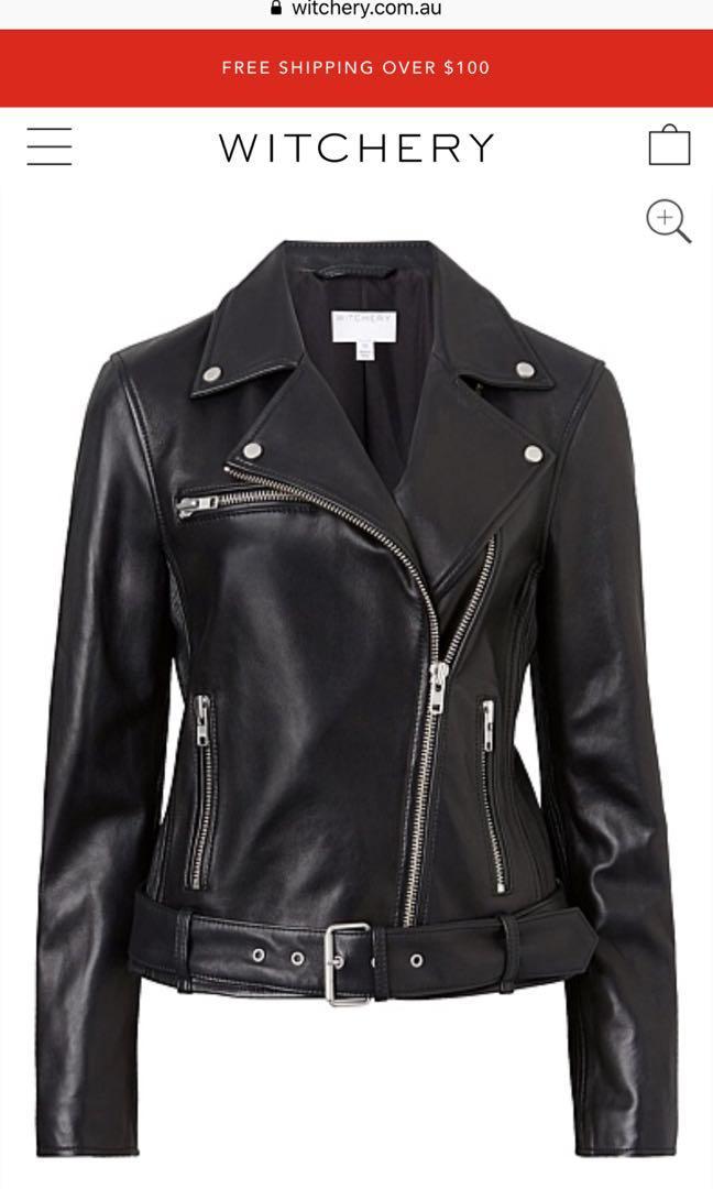 Witchery leather biker jacket size 12