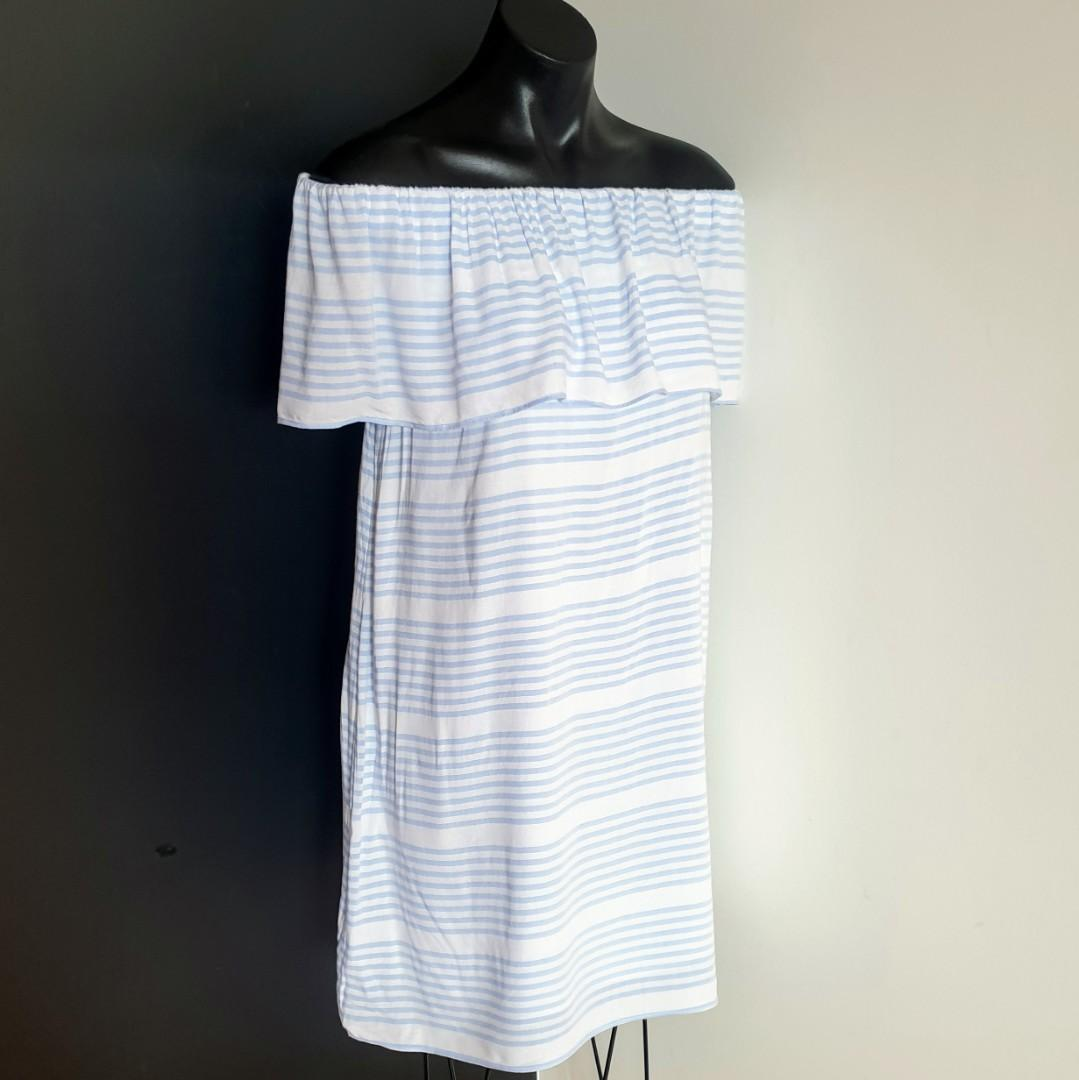 Women's size 8 'WITCHERY' Gorgeous blue and white striped off shoulder dress - AS NEW