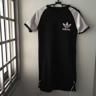 Ulzzang Raglan Adidas Shirt Dress