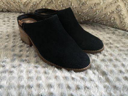 TOMS suede leather mules