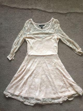 Peach lace flare dress