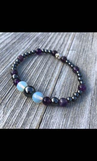 Healing Bracelet Amethyst Hematite Opalite