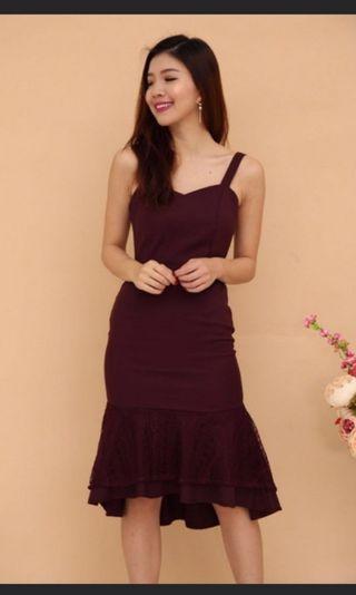 Maroon Mermaid Bodycon Dress