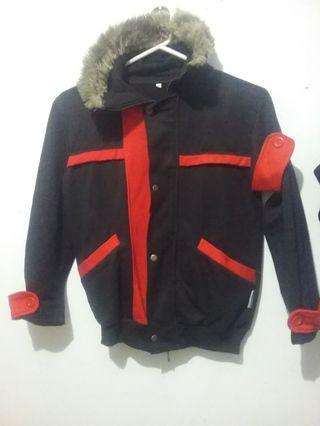 "Jaket Winter Bulu"" Fur SAO Merah Hitam"