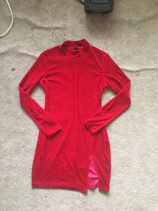 Red slit velvet dress