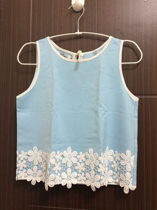 MR&MS Blue Top with White Flower