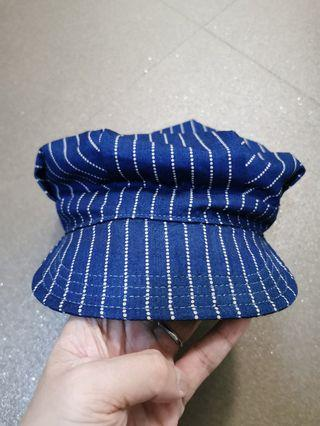 SFV MERCANTILE CO. ENGINEER & WORKMAN CAP IN JAPANESE INDIGO CLOTH W/ DISCHARGE PRINT WABASH STRIPE