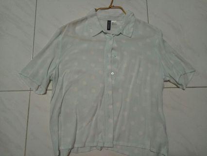 H&M turquoise polka dot blouse