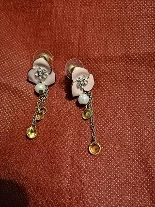 Pink flower earring