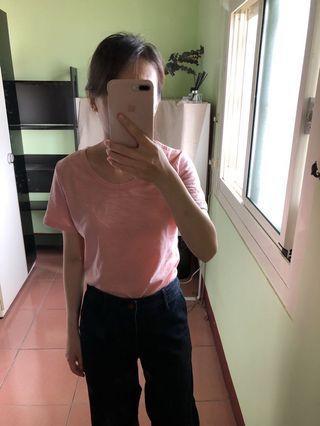 竹節棉圓領T恤。190。尺寸S/M/L/XL。藕粉/藏藍。