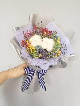 Cotton with Rainbow Dried Baby Breath Bouquet/ Dried Flower Bouquet/ Graduation Flower Bouquet/ Birthday Flower Bouquet/ Teacher's Day Flower Bouquet