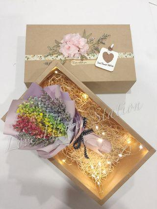 Dried Rainbow Baby Breath Bouquet in Brown Gift Box With LED LIGHT 💡/ Birthday Gift Idea/ Baby Breath Bouquet/ Graduation Flower