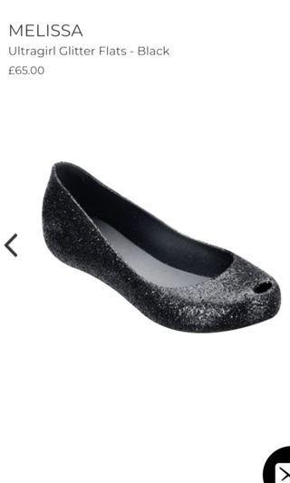 Authentic Melissa Glitter Ultragirl Ballet Shoes in Black