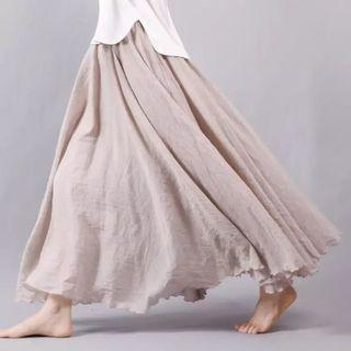 (PO) M-L 2019 Women Linen Cotton Long Skirts Elastic Waist Pleated Maxi Skirts Beach Boho
