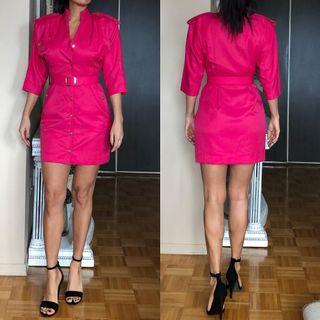 Vintage Fuchsia pink military dress