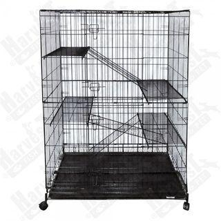 """(READY STOCK) 4 Level Cat Cage (Large) Wrought Iron 36""""L x 24""""W x 52""""H"""
