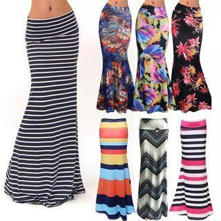 (PO) S-XXXL Women's Fashion Plus Size Floor-length Maxi Skirt with Stretch Floral Bodycon Beach Skirt Striped
