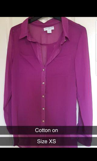 Sheer blouse fits XS/S