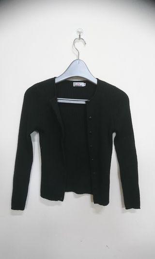 🚚 時尚黑色針織外套(肩寬27 長52cm)
