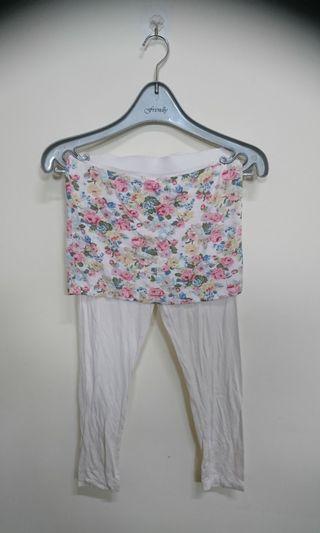 時尚裙擺式花色內搭褲(腰32 長73cm)