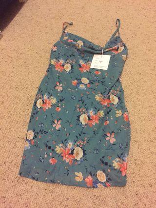 NEW teal floral cowl neck mini silk satin dress