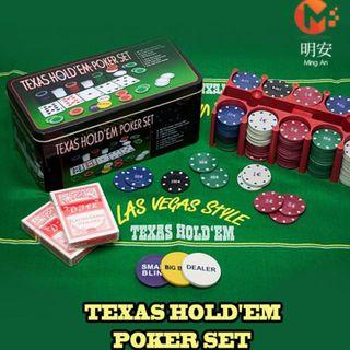TEXAS POKER HOLD'EM SET GAME 200 CHIPS CASINO PARTY FUN