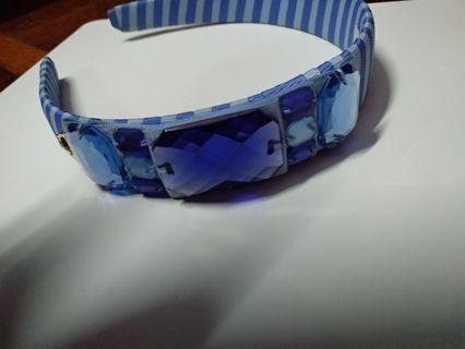 Crystal blue striped Blair hairband