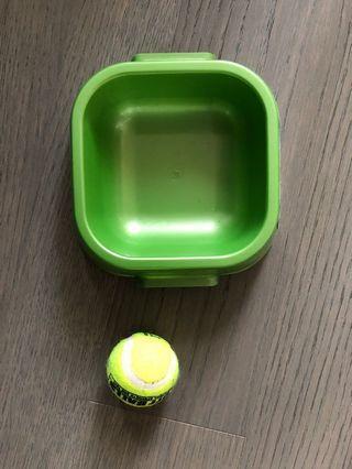 dog bowl and ball