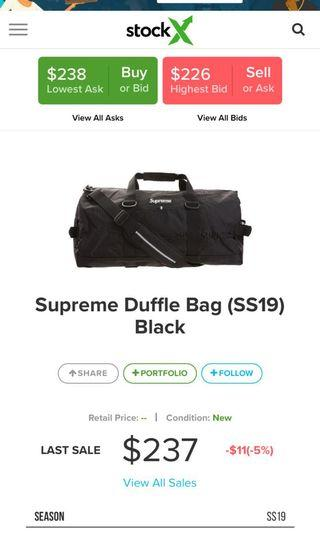 Brand New Supreme SS19 Duffle Bag with tags + plastic