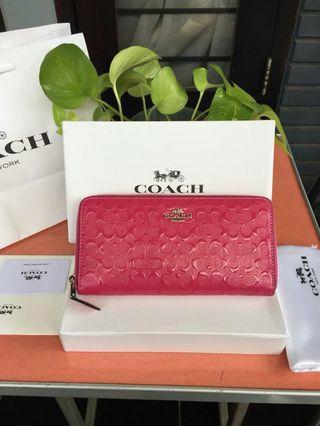 Coach Wallet Debossed Pink Fushia