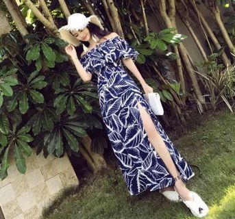 超仙藍色度假連身裙長洋裝