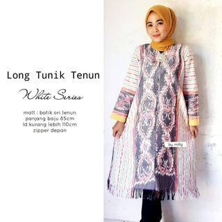 Long tunik tenun white series