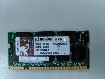 Kingston DDR333 1GB 筆電用記憶體
