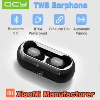 QCY T1 Wireless Bluetooth Earphones / Bluetooth 5.0 / IPX4 Waterproof / Automatic Pair Xiaomi Samsung Apple Airpods TWS