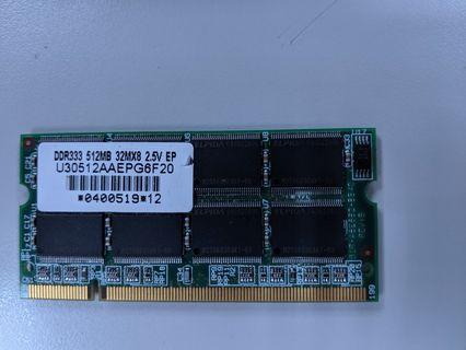 DDR333 512MB 筆電用記憶體