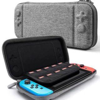 Nintendo Switch Slim GREY Case Protective Travel Carrying Case with 10 Game Cartridges, Hard Shell Pouch for Nintendo Switch Console and Accessorie