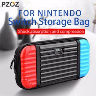 PZOZ Nintendo Switch Slim HARD Case Protective Travel Carrying Case with 10 Game Cartridges, Hard Shell Pouch Console and Accessories Cover Bag Travel Protect Tempered Glass