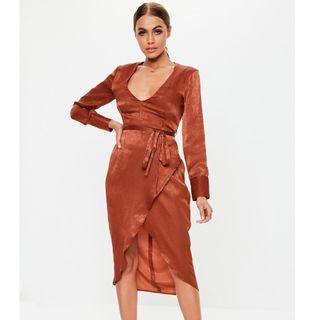 Missguided satin wrap dress