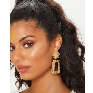 Pretty little thing gold statement earrings