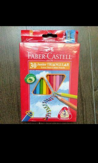 Brand New Faber Castell 30 Junior Triangular Extra Thick Colour Pencils