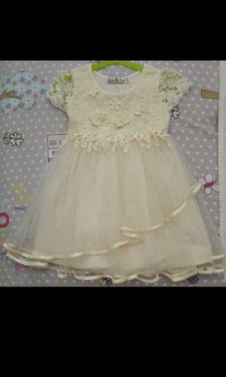 Preloved Baby Toddler Kids Children Girl's Bridal Dinner Flower Girl Cream ivory Dress