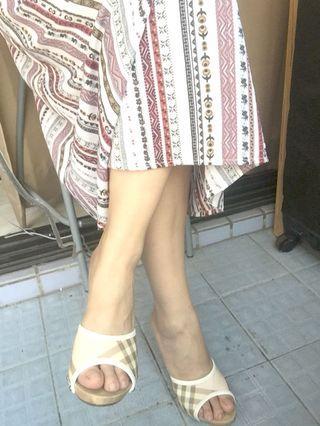 真品Burberry英標經典粉紅格紋涼鞋
