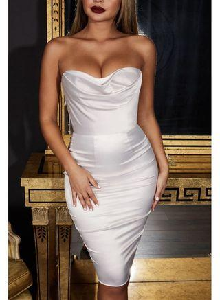 Oh Polly- Strapless Dress in Ivory