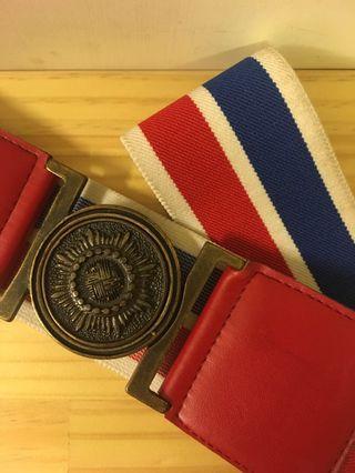 🚚 《古著》vintage 經典紅藍白拼色腰帶
