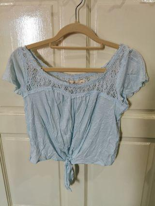 Light blue crop top with back see through lace