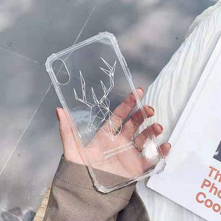 Transparent deer tribal art iphone 6 7 8 plus X XR XS Max