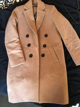 Coat Boohoo Camel Petite Double Breasted size 8