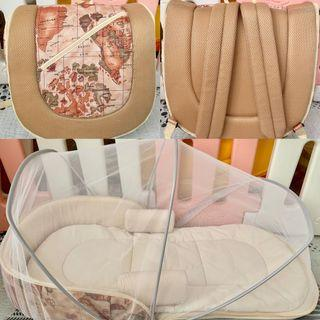 多功能折疊/防壓 新生嬰兒便攜背包旅行床 分隔床 床中床 multifunctional pressure proof baby bed